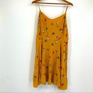 Old Navy Mustard Floral Smocked Swing Dress